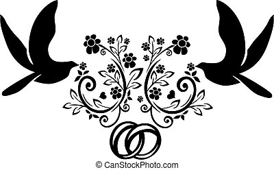 doves with wedding rings 3 - It is a vector illustration of...