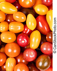 Fresh mixed small tomatoes in filled frame format - Filled...