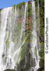 Iguassu waterfall on a sunny day early in the morning. The...