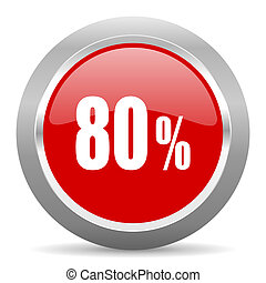80 percent red metallic chrome web circle glossy icon