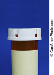 Medicine bottle with yellow label isolated on blue background.  Your text can be on the yellow label.