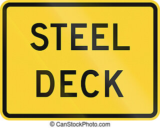 United States MUTCD road sign - Steel deck