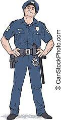 Smug policeman stands upright. Blue uniform - Content...
