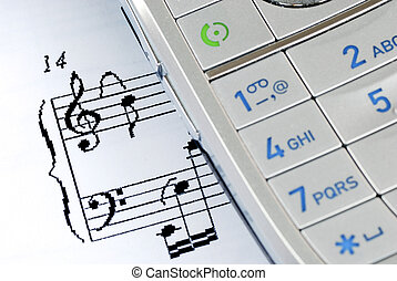 The music sheet represents the ring tones from a cellular phone