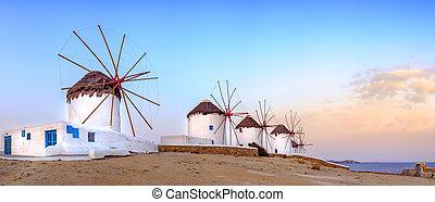 Traditional greek windmills on Mykonos island, Cyclades,...