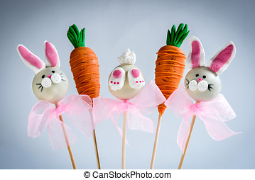 Sweet Easter cake pops - Bunny and carrots cake pops,Easter...