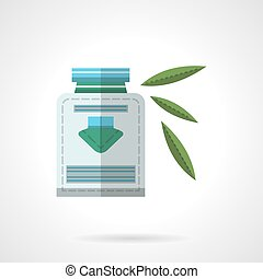 Herbal medicine flat color design vector icon - Alternative...
