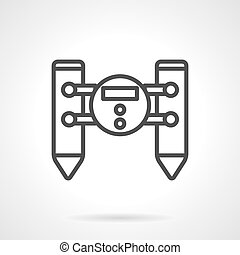 Water robot black line design vector icon - Water floating...