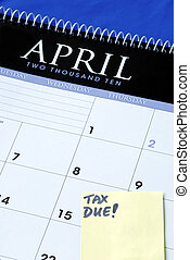 April 15th is the due day for income tax returns isolated in blue