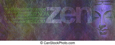 Zen Wisdom banner - Wide rough stone effect multicolored...