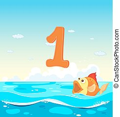 Number one with 1 fish in the ocean