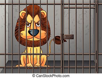 Lion being locked in the cage illustration