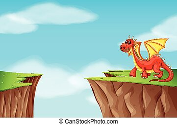 Red dragon standing on the cliff illustration