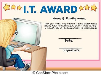 Certificate template for information technology illustration