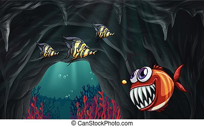 Fish swiming under the ocean illustration