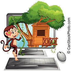 Computer screen with monkey on treehouse