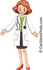 Female doctor in white gown and stethoscope illustration