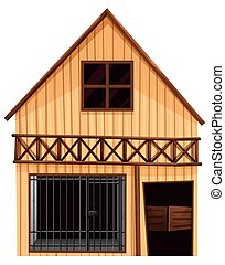 Wooden hut with prison room downstairs illustration