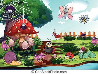 Bugs living by the river illustration