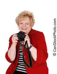 Happy grandmother taking pictures. - A happy and lovely...