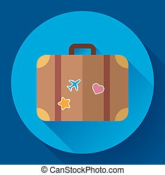 Vector vintage Travel Suitcase icon with long shadow. Flat design style