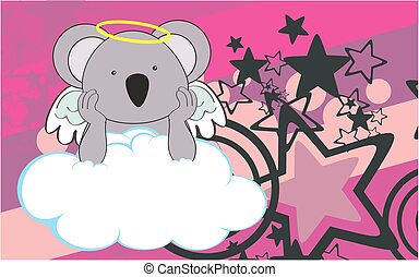 cherub koala cartoon background - sweet cherub koala cartoon...