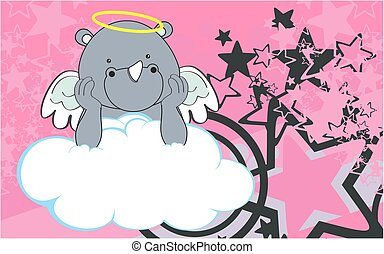 cherub rhino cartoon background - sweet cherub rhino cartoon...