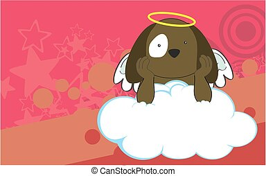cherub dog cartoon background - sweet cherub dog cartoon...