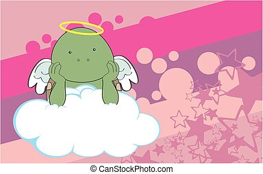 cherub turtle cartoon background - sweet cherub turtle...