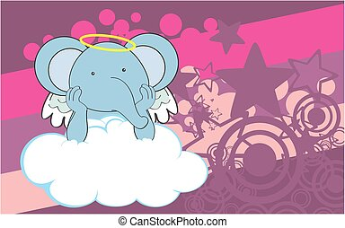 cherub elephant cartoon background - sweet cherub elephant...