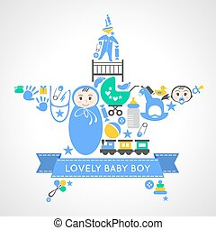 Baby boy icons collection set in form of star