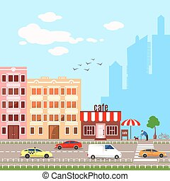 Flat design vector illustrationof urban landscape