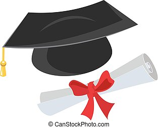 Mortarboard and diploma Isolated on white vector...