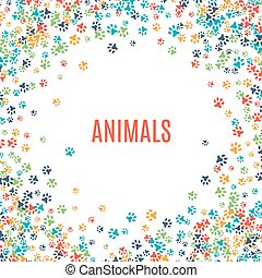 Colorful animal footprint ornament border isolated on white background