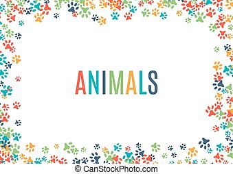 Colorful animal footprint ornament border isolated on white...