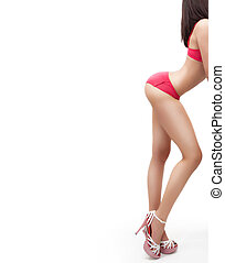 Body of woman with sexy ass and legs isolated on white