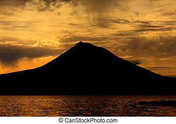 Pico Mountain from Azores, Portugal, at sunset