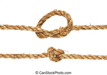 Tied Knot - Closeup shot of a rope with a knot. Isolated on...