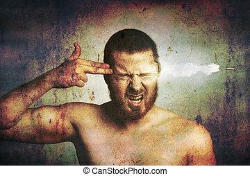 suicídio, –, cansado, homem, Matança,...