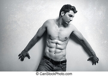 Muscular man with sexy abs