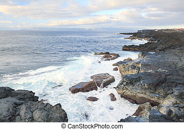 Rocks and ocean waves in Azores