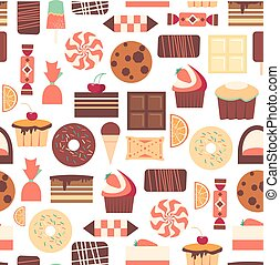 Seamless pattern with black, milk and white chocolate bars -...