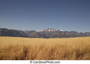 Beautiful mountains in Peru with perfect blue sky