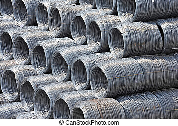 Steel wire roll - Stacked steel wire roll ready for shipment...