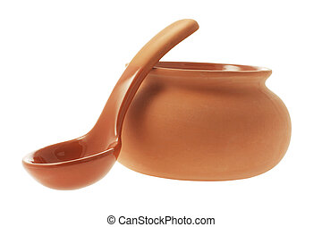 Clay Pot and Ladle on White Background