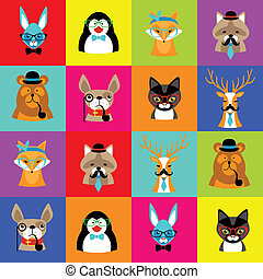 set of cute simple animal faces - animals, colorful, nature,...