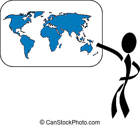 Geography - A stylized person explaining the world All...