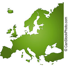 Map Of Europe - A stylized map of Europe in green tone. All...
