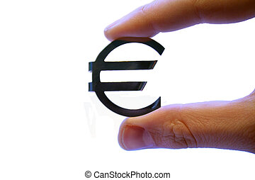 Appreciation Of Value - A human hand holding an Euro sign...