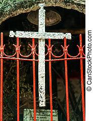 cancello, metallo, croce, rosso